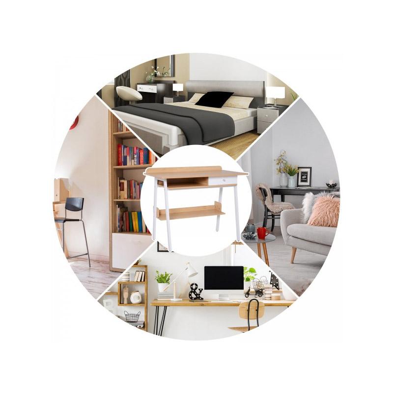 Μεταλλικό Γραφείο με 1 Συρτάρι 100 x 55 x 81.3 cm Χρώματος Λευκό HOMCOM 836-132WT