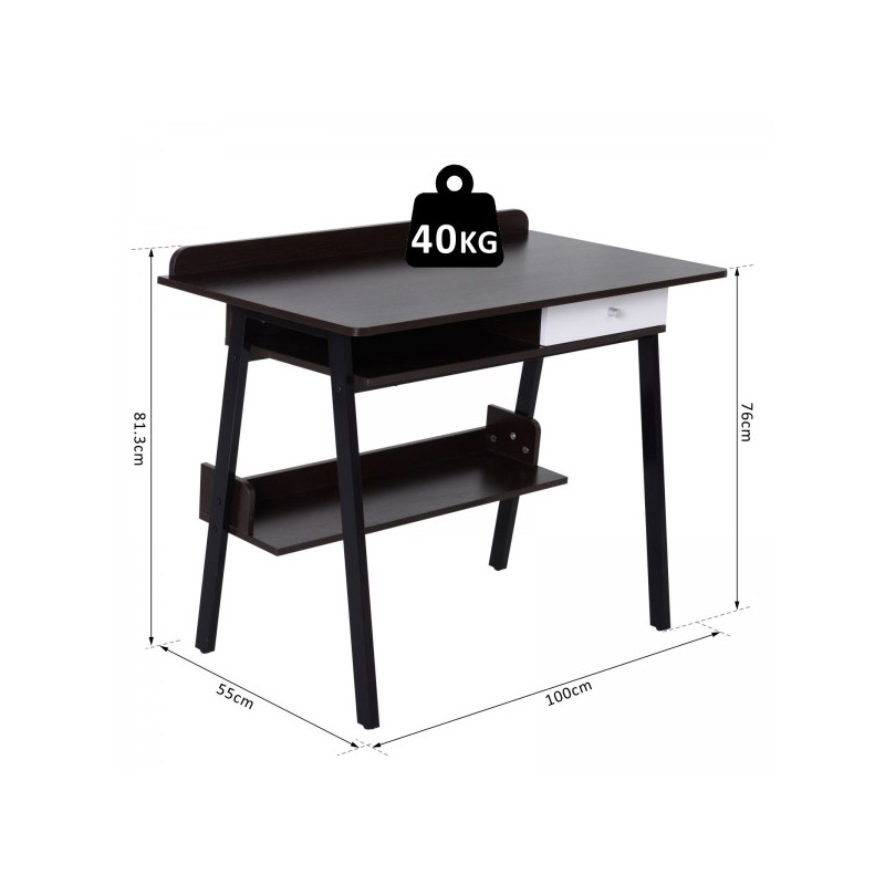 Μεταλλικό Γραφείο με 1 Συρτάρι 100 x 55 x 81.3 cm Χρώματος Μαύρο HOMCOM 836-132BK
