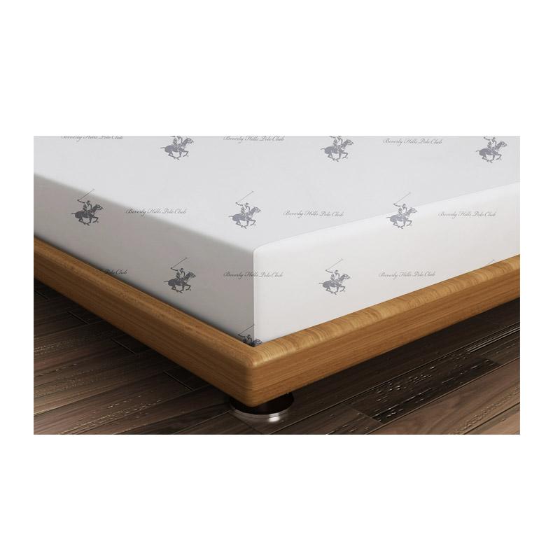 Διπλό Σεντόνι 240 x 260 cm Χρώματος Λευκό - Γκρι Beverly Hills Polo Club 176BHP1201