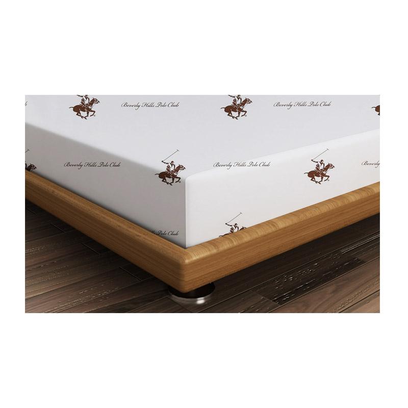Διπλό Σεντόνι 240 x 260 cm Χρώματος Λευκό - Καφέ Beverly Hills Polo Club 176BHP1209