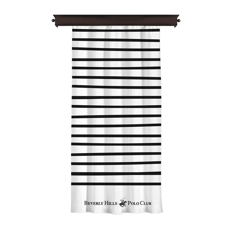 Κουρτίνα με Τρουκς 140 x 260 cm Χρώματος Λευκό Beverly Hills Polo Club 176BHP8805