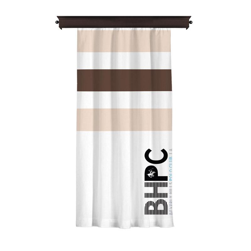 Κουρτίνα με Τρουκς 140 x 260 cm Χρώματος Λευκό Beverly Hills Polo Club 176BHP8815