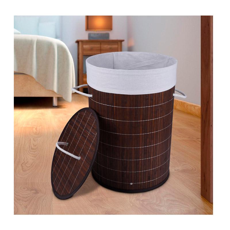 Καλάθι Απλύτων από Μπαμπού Χρώματος Καφέ Σκούρο GEM BN5668