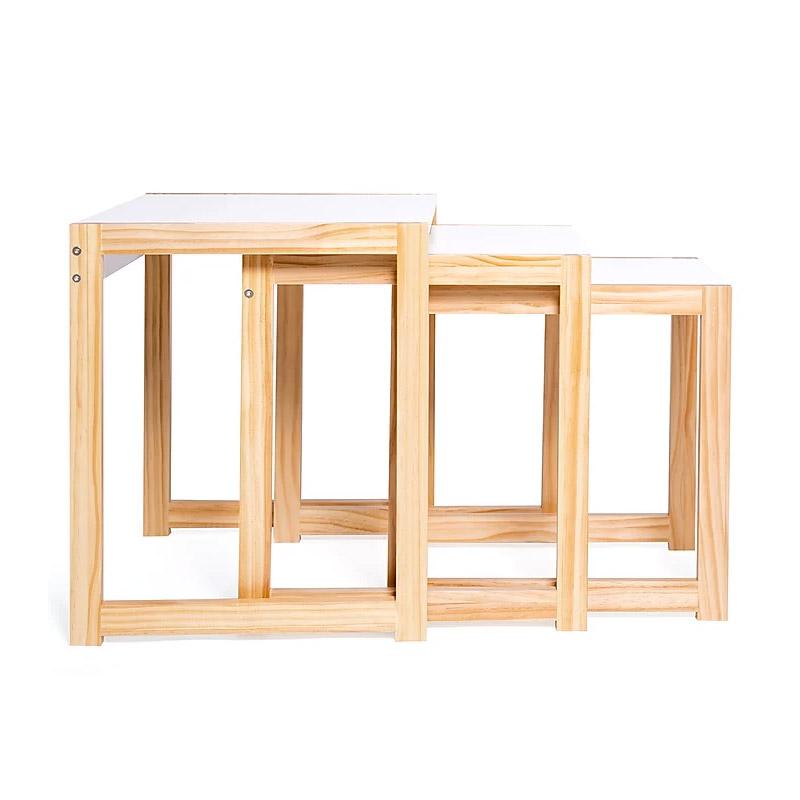 Σετ Βοηθητικά Ξύλινα Τραπέζια 48 x 40 x 48.5 cm Livia Χρώματος Λευκό SPM 30083220