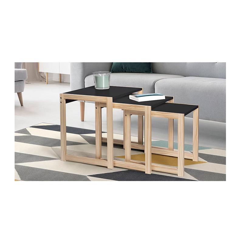Σετ Βοηθητικά Ξύλινα Τραπέζια 48 x 40 x 48.5 cm Livia Χρώματος Μαύρο SPM 30083220