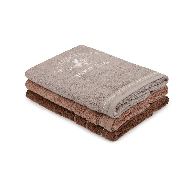 Σετ με 3 Πετσέτες Προσώπου 50 x 90 cm Χρώματος Καφέ - Καφέ Ανοιχτό Beverly Hills Polo Club 355BHP2313
