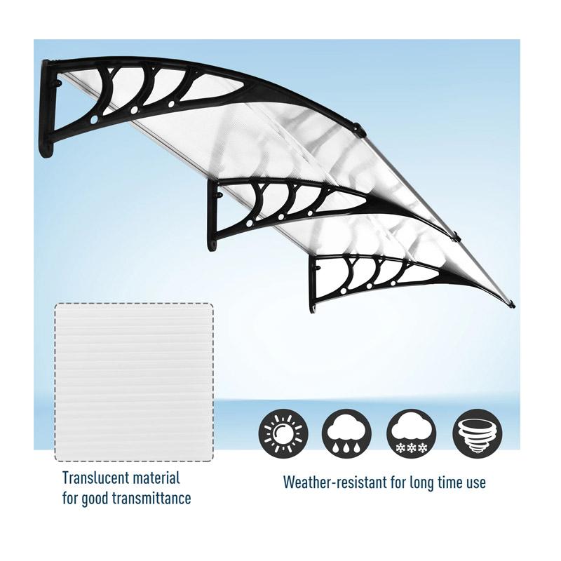 Διπλό Πλαστικό Κιόσκι - Τέντα Πόρτας Εισόδου 80 x 197 x 23 cm Χρώματος Λευκό Outsunny B70-047WT