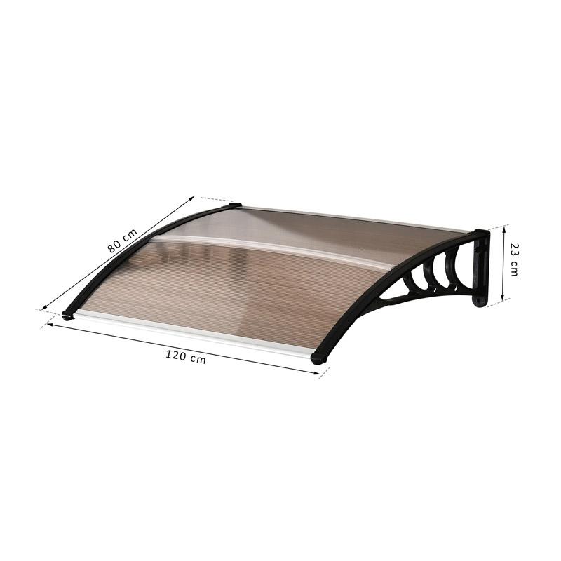 Πλαστικό Κιόσκι - Τέντα Πόρτας Εισόδου 80 x 120 x 23 cm Χρώματος Καφέ Outsunny B70-011V02BN