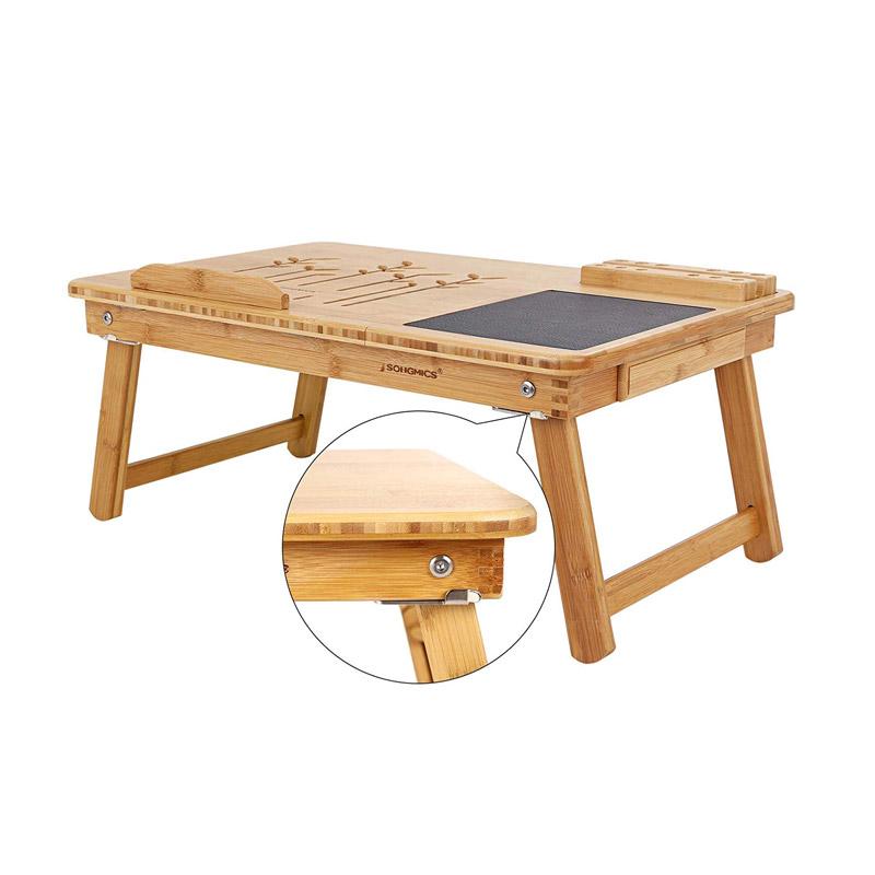 Ξύλινο Βοηθητικό Πτυσσόμενο Τραπέζι Πολλαπλών Χρήσεων με Βάση για Laptop Songmics LLD006