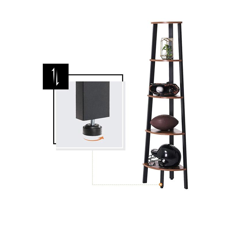 Γωνιακή Μεταλλική Ραφιέρα με 5 Ξύλινα Ράφια 34 x 34 x 159 cm VASAGLE LLS35X