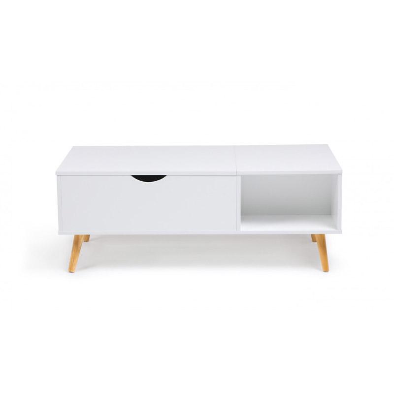 Τραπέζι Σαλονιού με Ρυθμιζόμενο Ύψος 110 x 55 x 43 cm Χρώματος Λευκό Alesund Idomya 30080139
