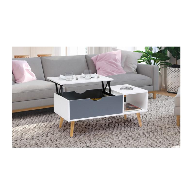 Τραπέζι Σαλονιού με Ρυθμιζόμενο Ύψος 90 x 45 x 39 cm Χρώματος Γκρι Alesund Idomya 30080142