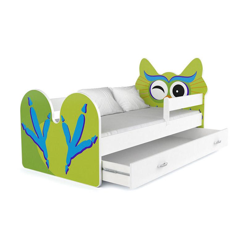 Ξύλινο Παιδικό Μονό Κρεβάτι με Στρώμα και 1 Συρτάρι 183 x 85 cm Owl SPM JAN-BED180-O