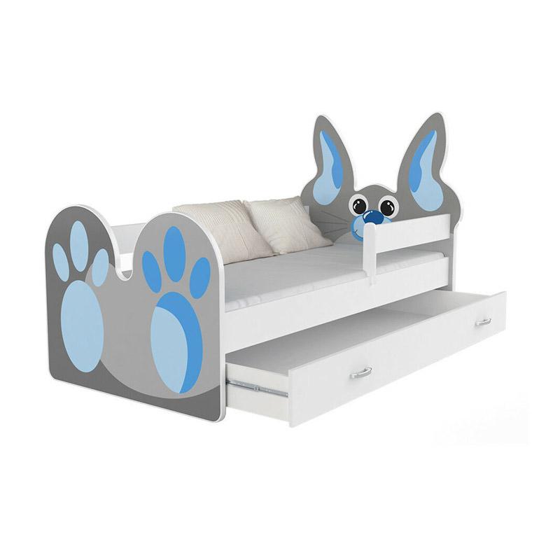 Ξύλινο Παιδικό Μονό Κρεβάτι με Στρώμα και 1 Συρτάρι 183 x 85 cm Rabbit SPM JAN-BED180-R