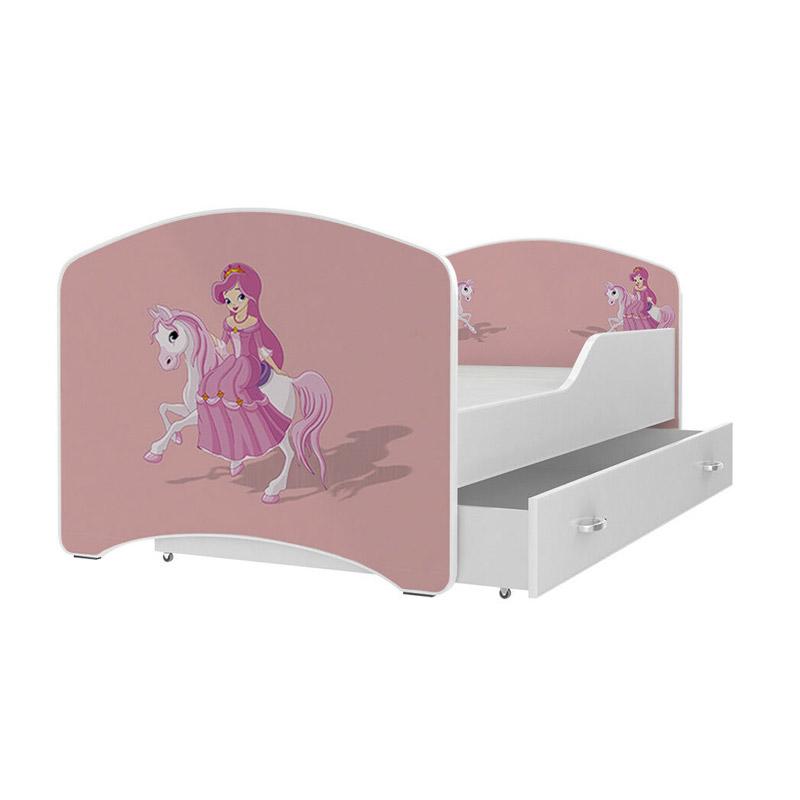 Ξύλινο Παιδικό Μονό Κρεβάτι με Στρώμα και 1 Συρτάρι 180 x 80 cm SPM JAN-IGOR180-9