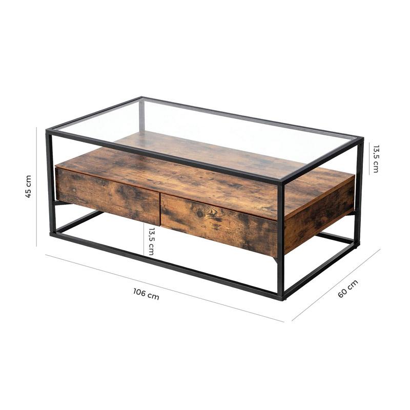 Μεταλλικό Τραπέζι Σαλονιού με Γυάλινη Επιφάνεια και 2 Συρτάρια 106 x 60 x 45 cm VASAGLE LCT31BX