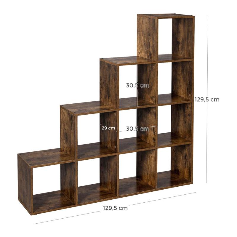 Ξύλινη Βιβλιοθήκη με 10 Ράφια 129.5 x 29 x 129.5 cm Χρώματος Σκούρο Καφέ VASAGLE LBC10BX