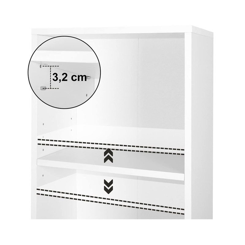 Ξύλινη Βιβλιοθήκη με 3 Ράφια 40 x 24 x 93 cm Χρώματος Λευκό VASAGLE LBC103W