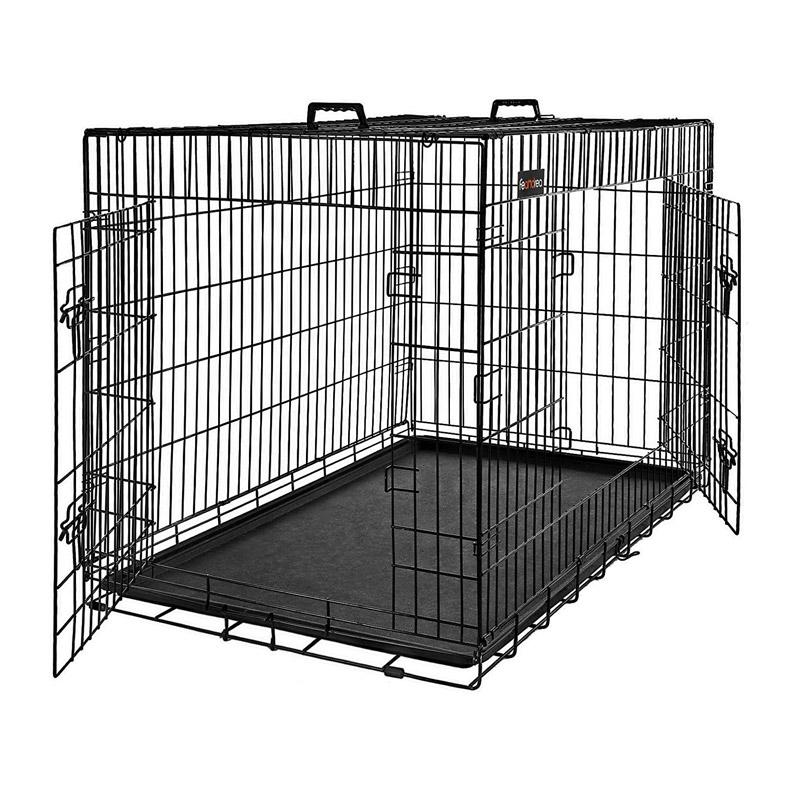Αναδιπλούμενο Μεταλλικό Κλουβί Σκύλου με 2 Πόρτες 92.5 x 57.5 x 64 cm Feandrea PPD36BK