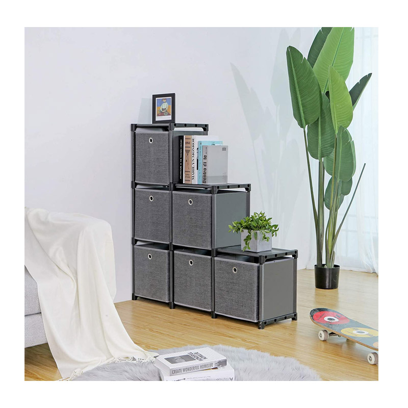 Πολυμορφική Βιβλιοθήκη με 6 Κύβους Αποθήκευσης και 6 Κουτιά 105 x 30 x 105 cm Songmics LSN66BK