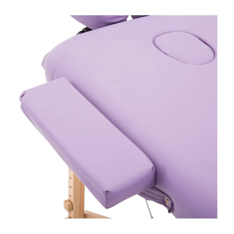 Φορητό Ξύλινο Αναδιπλούμενο Επαγγελματικό Κρεβάτι - Κλίνη Μασάζ Φυσικοθεραπείας 2 Ζωνών Χρώματος Μωβ HOMCOM 5550-3293