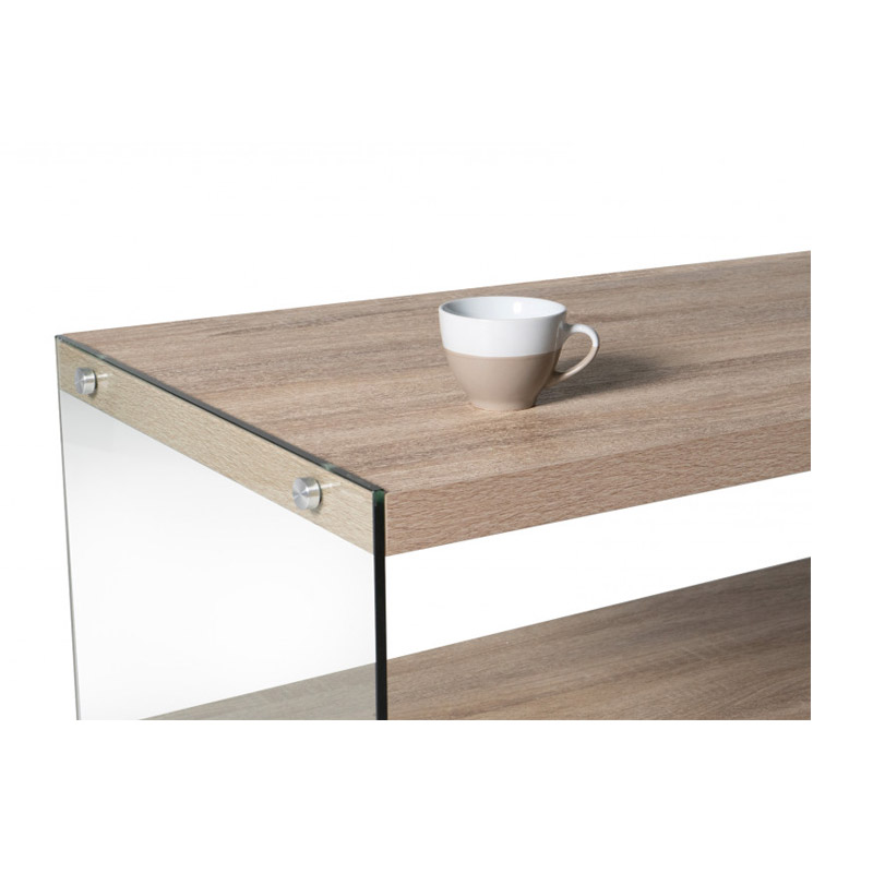 Ξύλινο Τραπέζι Σαλονιού 98 x 50 x 40 cm Χρώματος Καφέ Ανοιχτό Lucia Idomya 30084295