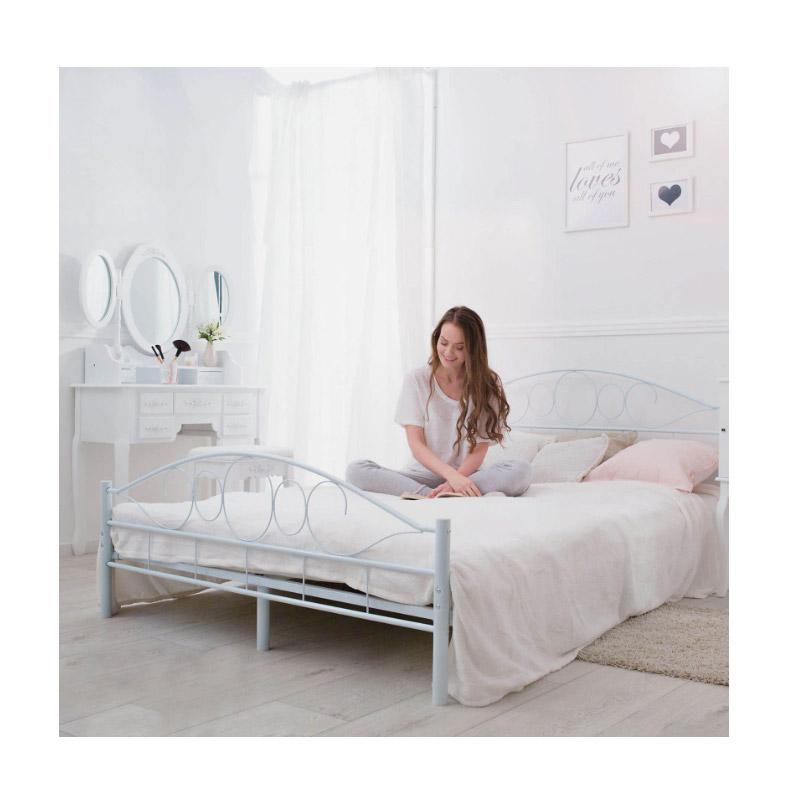 Διπλό Μεταλλικό Κρεβάτι 160 x 200 cm Χρώματος Λευκό Hoppline HOP1000897-2