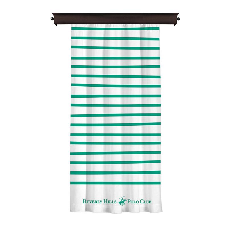 Κουρτίνα με Τρουκς 140 x 260 cm Χρώματος Λευκό Beverly Hills Polo Club 176BHP8806