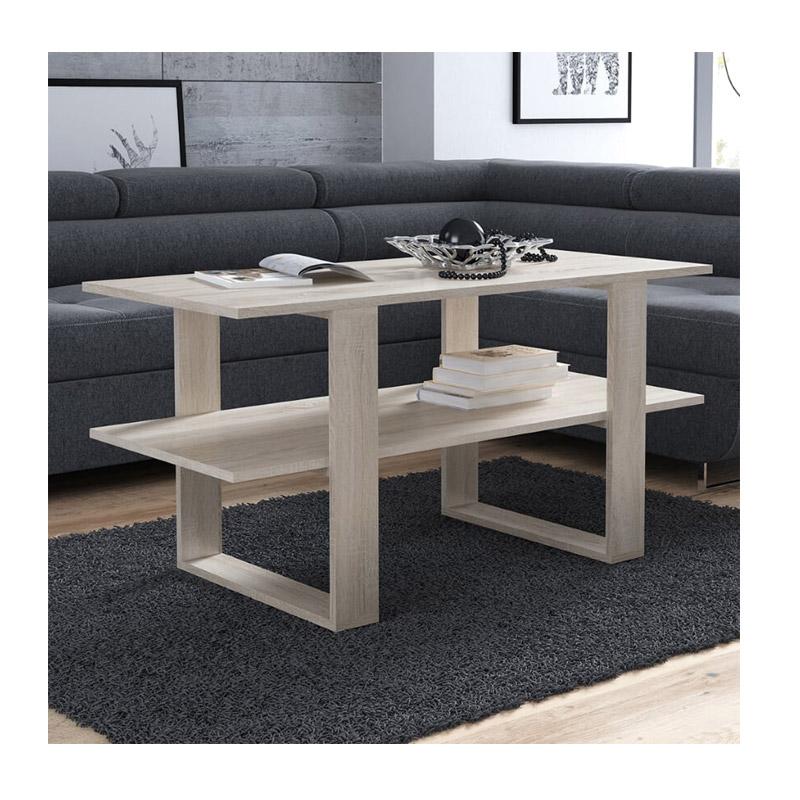 Ξύλινο Τραπέζι Σαλονιού 120 x 55 x 60 cm Χρώματος Καφέ Ανοιχτό SPM Kira JAN-KIRAOAK