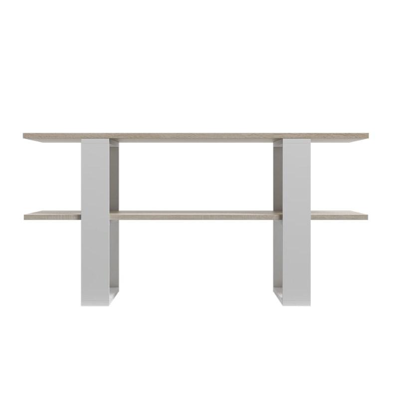 Ξύλινο Τραπέζι Σαλονιού 120 x 55 x 60 cm Χρώματος Καφέ Ανοιχτό - Λευκό SPM Kira JAN-KIRAWOAK