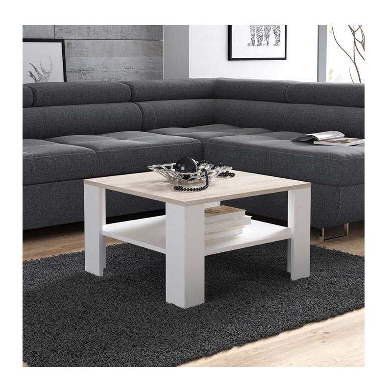 Ξύλινο Τραπέζι Σαλονιού 68 x 68 x 41 cm Χρώματος Καφέ Ανοιχτό - Λευκό SPM Lana JAN-LANAWOAK