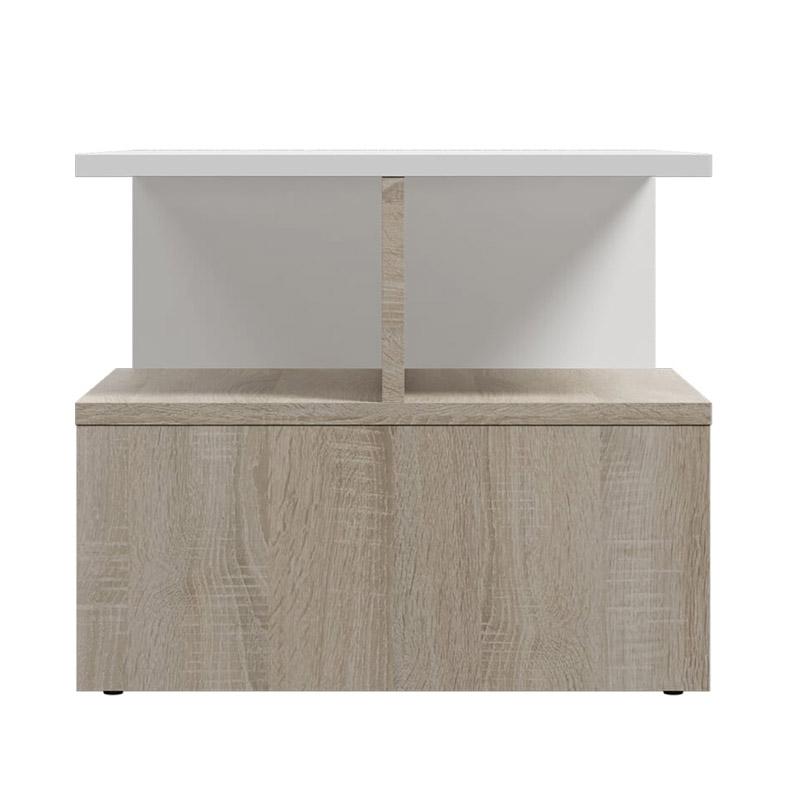 Ξύλινο Τραπέζι Σαλονιού 90 x 51 x 43 cm Χρώματος Καφέ Ανοιχτό - Λευκό SPM Leka JAN-LEKAWOAK