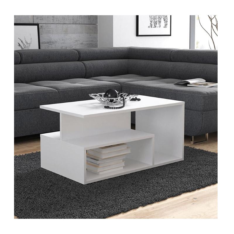 Ξύλινο Τραπέζι Σαλονιού 90 x 51 x 43 cm Χρώματος Λευκό SPM Leka JAN-LANAW