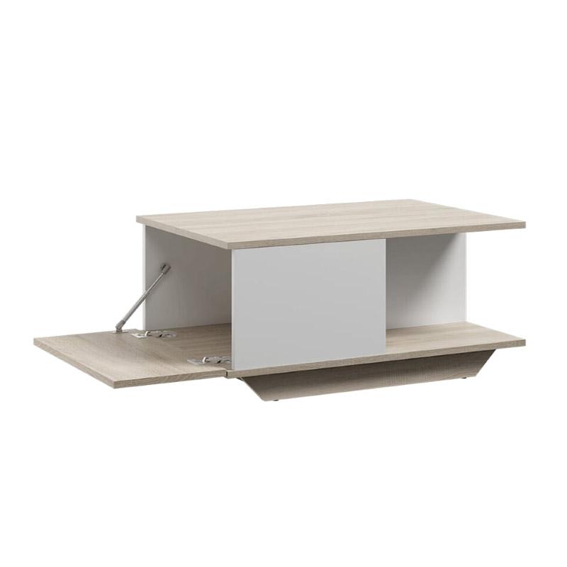 Ξύλινο Τραπέζι Σαλονιού 90 x 60 x 42 cm Χρώματος Καφέ Ανοιχτό - Λευκό SPM Kama JAN-KAMAWOAK