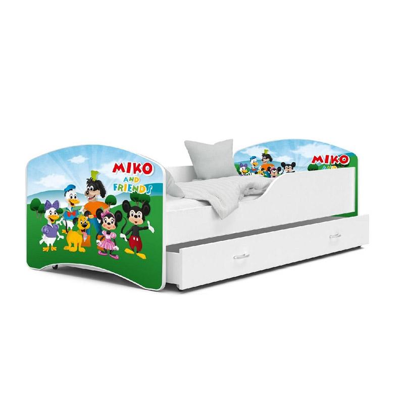 Ξύλινο Παιδικό Μονό Κρεβάτι με Στρώμα και 1 Συρτάρι 180 x 80 cm SPM JAN-IGOR180-72
