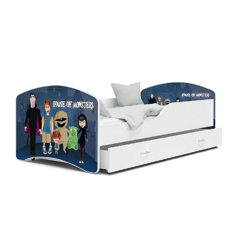 Ξύλινο Παιδικό Μονό Κρεβάτι με Στρώμα και 1 Συρτάρι 180 x 80 cm SPM JAN-IGOR180-74