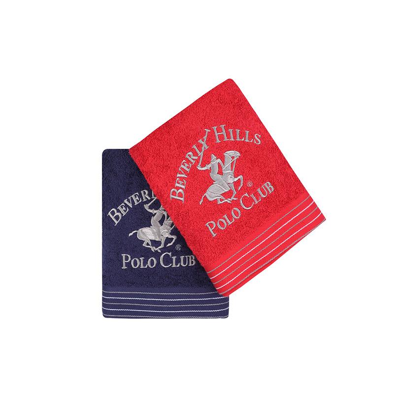 Σετ με 2 Πετσέτες Προσώπου 50 x 90 cm Χρώματος Κόκκινο - Navy Beverly Hills Polo Club 355BHP2361