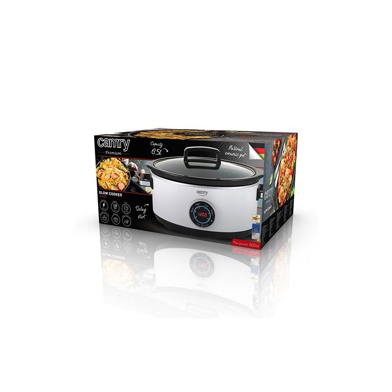 Ηλεκτρική Ψηφιακή Γάστρα 6.5 Lt με Γυάλινο Καπάκι Slow Cooker Premium Camry CR-6410