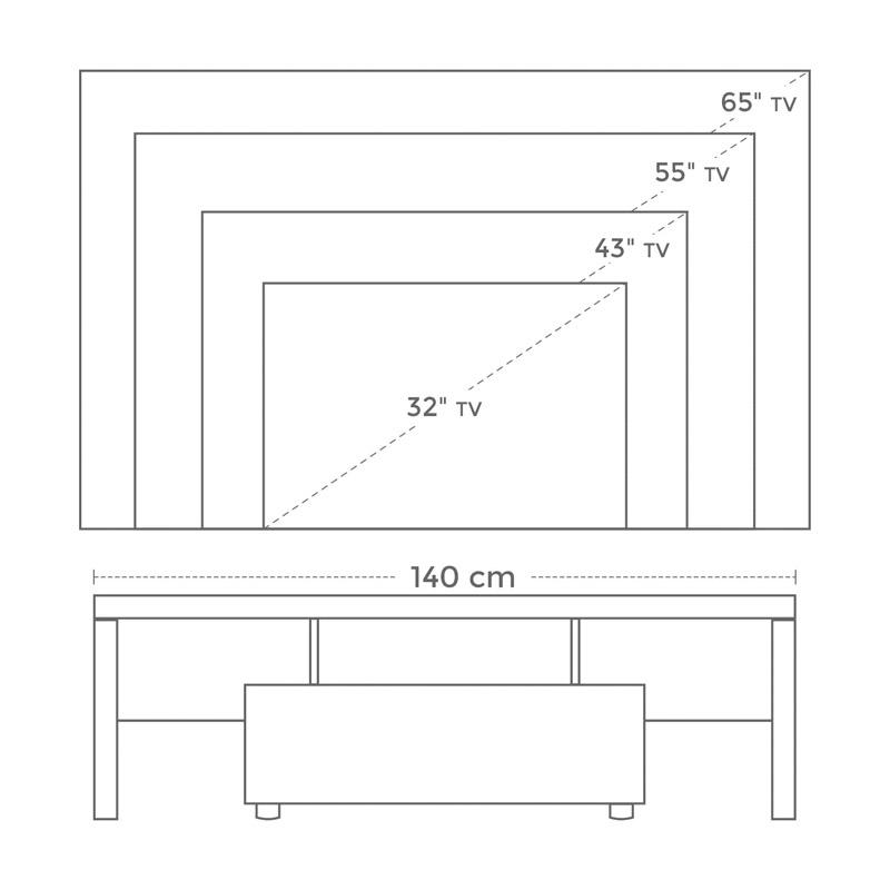 Ξύλινο Έπιπλο Τηλεόρασης με LED Φωτισμό 140 x 35 x 45 cm VASAGLE LTV14WT