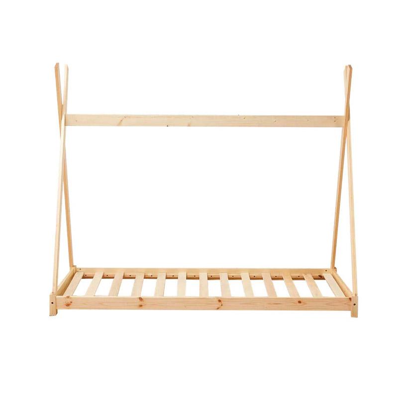 Παιδικό Ξύλινο Κρεβάτι Σκηνή Tipi 146 x 74.5 x 140 cm Χρώματος Καφέ Ανοιχτό Hoppline HOP1001084-1