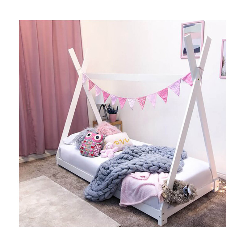 Παιδικό Ξύλινο Κρεβάτι Σκηνή Tipi 146 x 74.5 x 140 cm Χρώματος Λευκό Hoppline HOP1001084-2