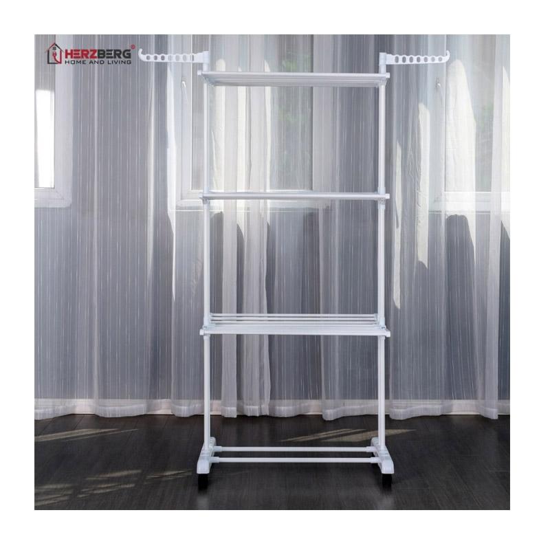 Πτυσσόμενη Απλώστρα Πολλαπλών Χρήσεων με Ρόδες Χρώματος Λευκό Herzberg HG-8034