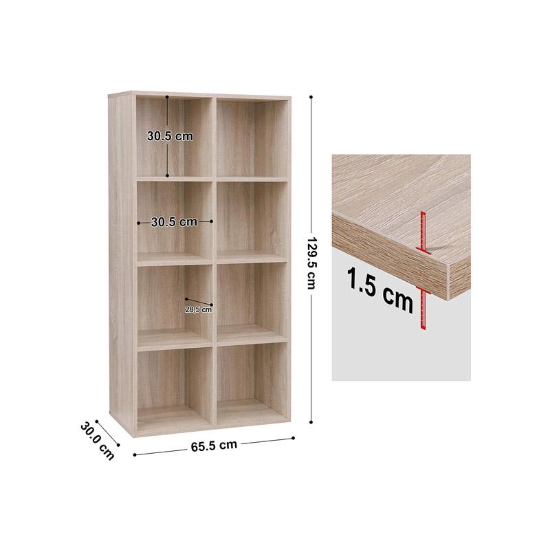 Ξύλινη Βιβλιοθήκη με 8 Ράφια 65.5 x 30 x 129.5 cm Χρώματος Καφέ Ανοιχτό VASAGLE LBC24NL