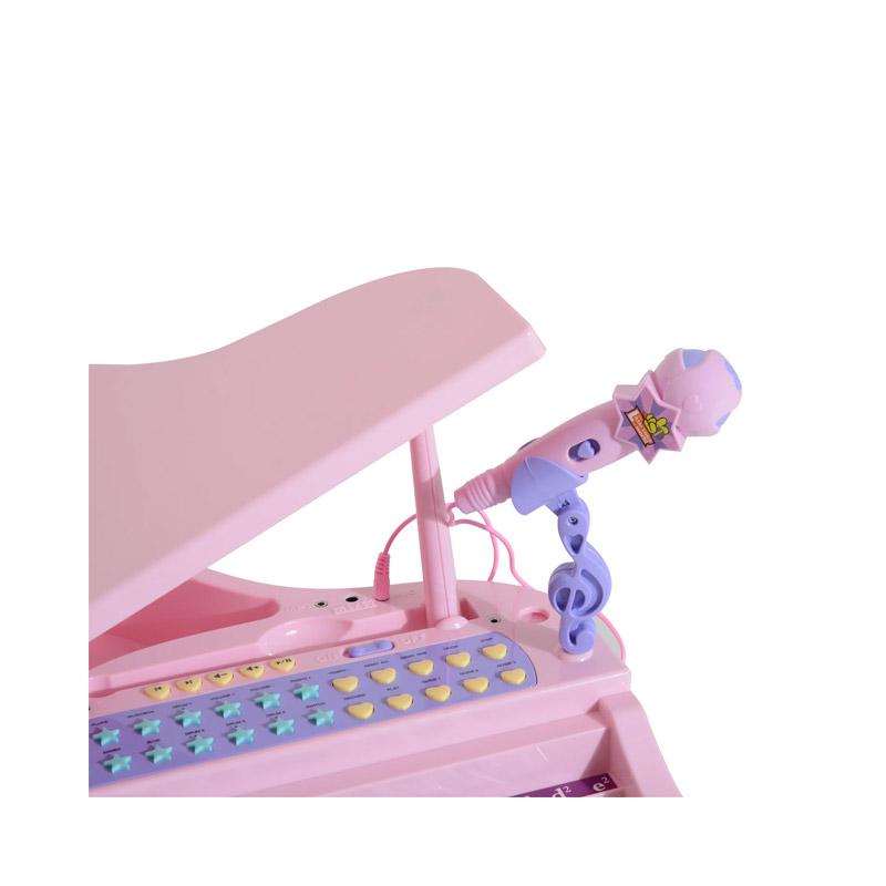 Παιδικό Ηλεκτρονικό Πιάνο με Κάθισμα και Μικρόφωνο Χρώματος Ροζ HOMCOM 390-003PK
