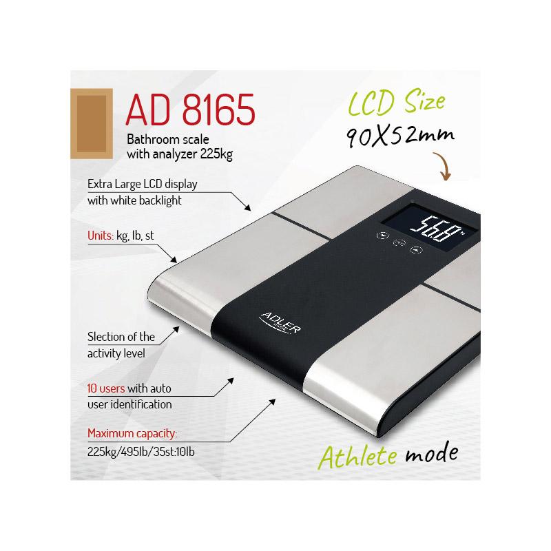 Ψηφιακή Ζυγαριά Μπάνιου - Λιπομετρητής Adler AD-8165