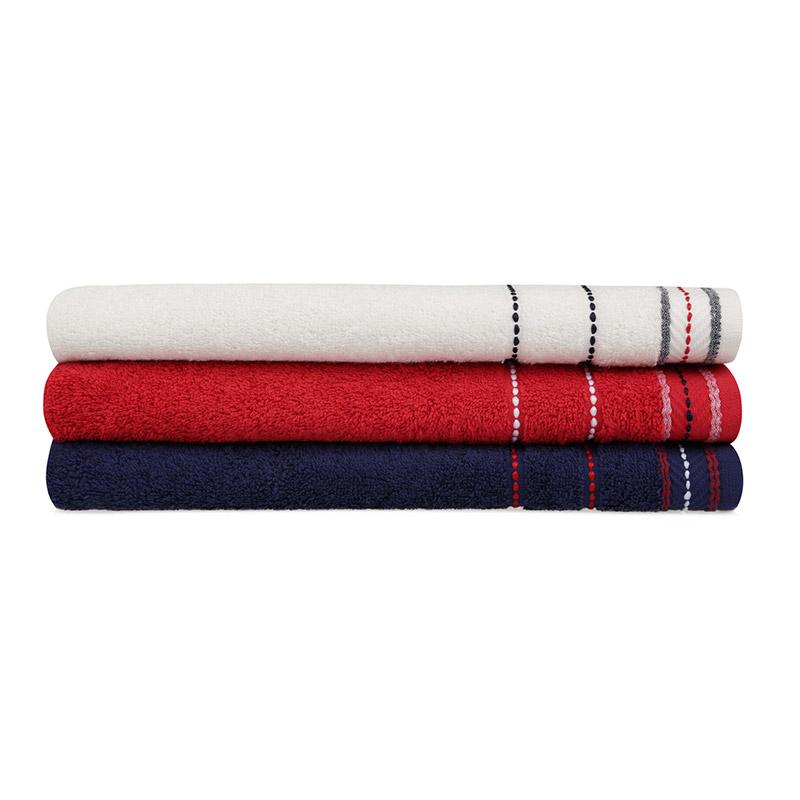 Σετ με 3 Πετσέτες Μπάνιου 70 x 140 cm Χρώματος Λευκό - Κόκκινο - Navy Beverly Hills Polo Club 355BHP2471