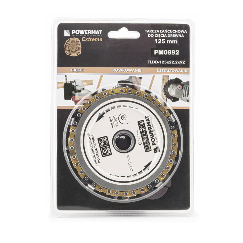 Δίσκος Κοπής Ξύλου με Αλυσίδα 125 x 22.2 mm και 9 Δόντια για Γωνιακό Τροχό POWERMAT TLDD-125x22.2x9Z