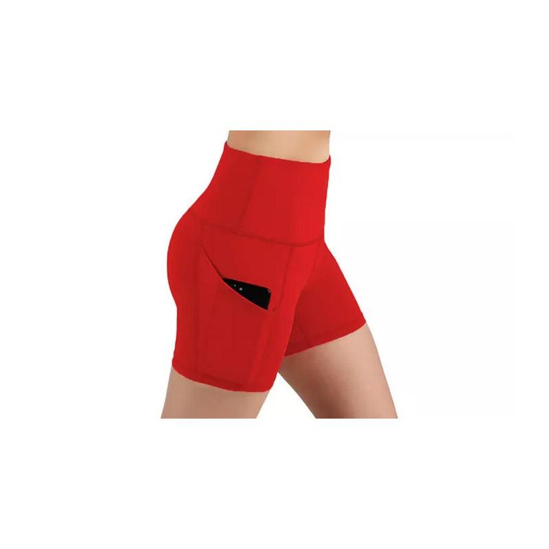 Γυναικείο Ψηλόμεσο Σορτς Κολάν Γυμναστικής με Τσέπες Χρώματος Κόκκινο SPM DYN-5059059077780