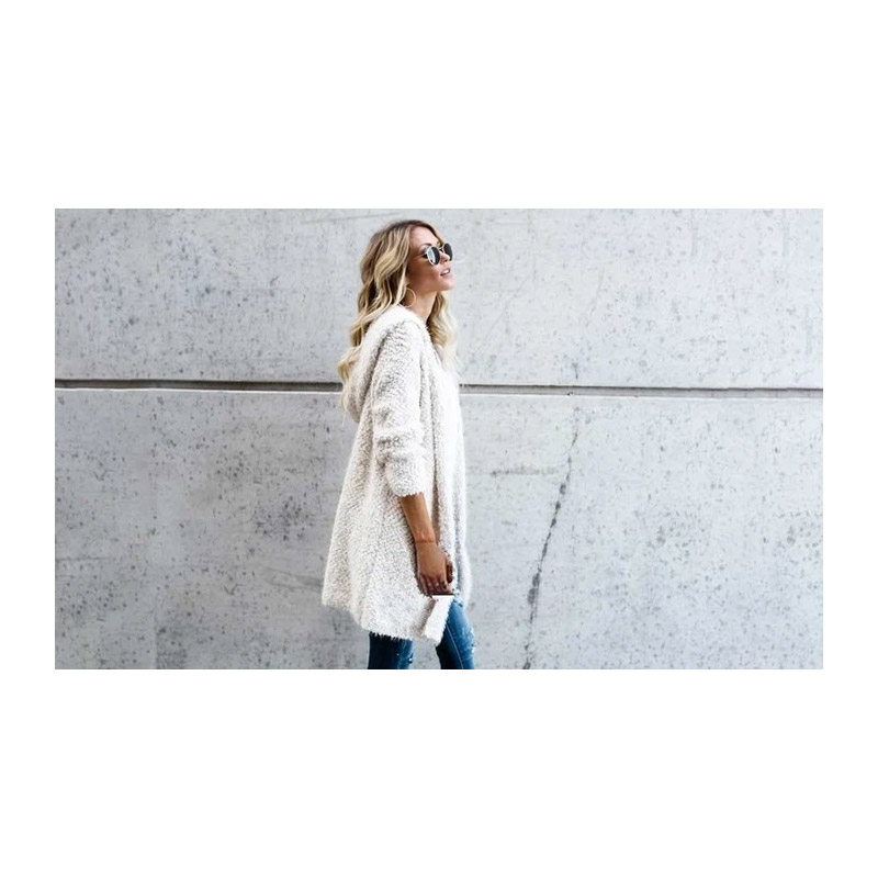 Γυναικεία Χνουδωτή Ζακέτα με Κουκούλα Χρώματος Λευκό Medium SPM DB3974