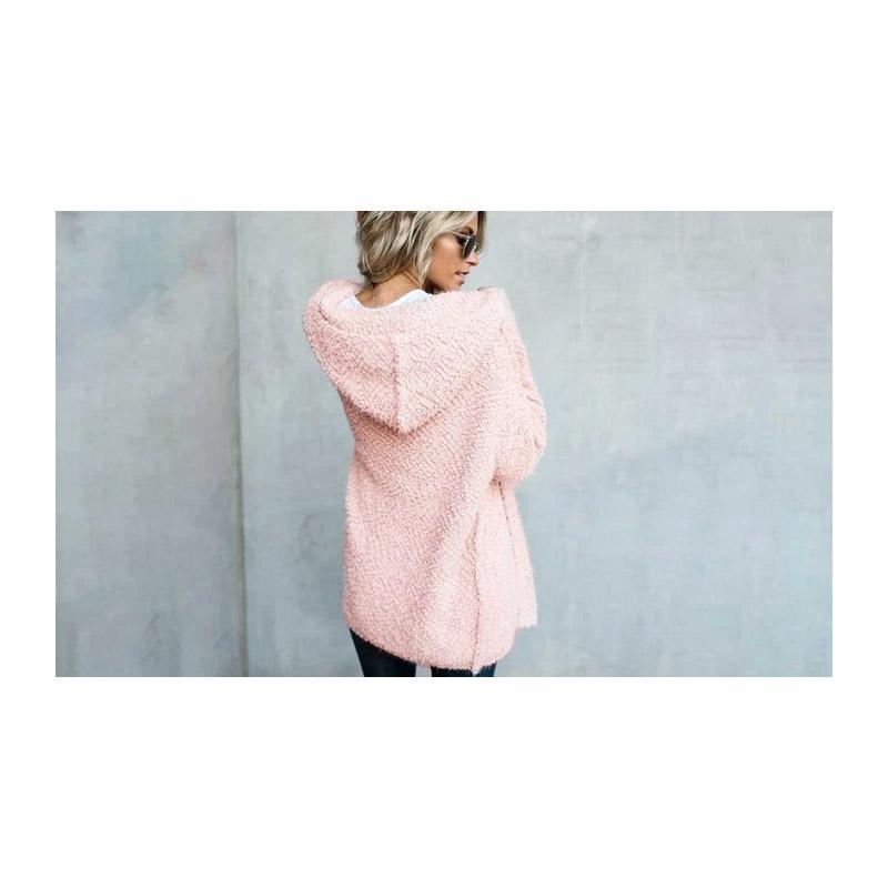 Γυναικεία Χνουδωτή Ζακέτα με Κουκούλα Χρώματος Ροζ Medium SPM DB3966